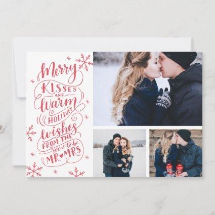 Merry Kisses Warm Wishes | Holiday | White 3-Photo Save The Date