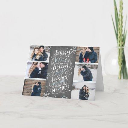 Merry Kisses Warm Wishes Save Date 6 Photo Folded Holiday Card
