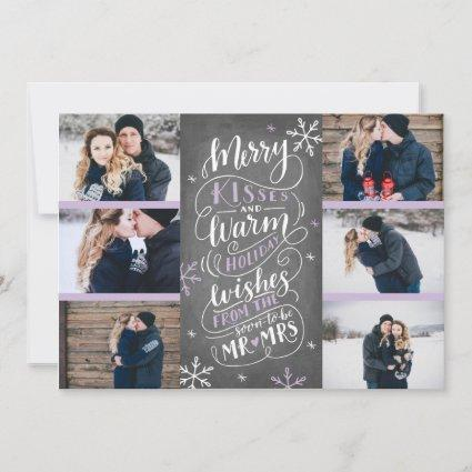 Merry Kisses Warm Wishes Save Date 6-Photo Lilac Save The Date