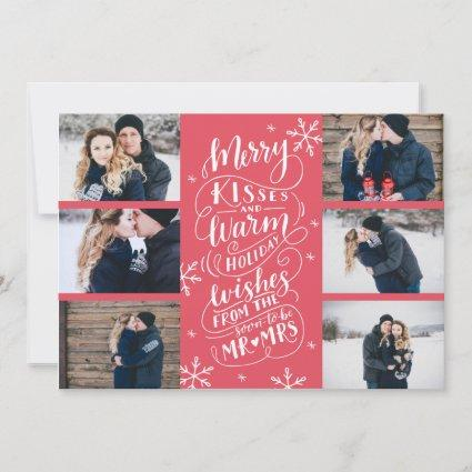 Merry Kisses Warm Wishes Save Date 6-Photo Red Save The Date