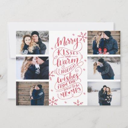 Merry Kisses Warm Wishes Save Date 6-Photo White Save The Date