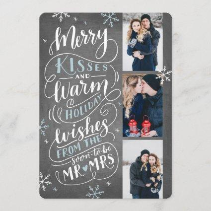 Merry Kisses Warm Wishes Save The Date 3 Photo