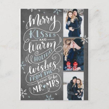 Merry Kisses Warm Wishes Save The Date 3 Photo Announcements Cards