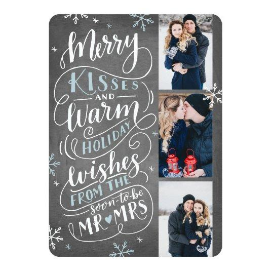 Merry Kisses Warm Wishes Save The Date 3 Photo Card