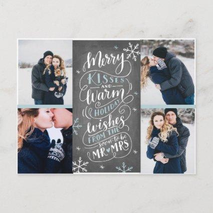 Merry Kisses Warm Wishes Save The Date 4-Photo Announcement