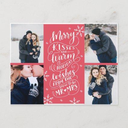Merry Kisses Warm Wishes Save The Date 4-Photo Announcements Cards