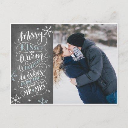 Merry Kisses Warm Wishes Save The Date Photo Announcement