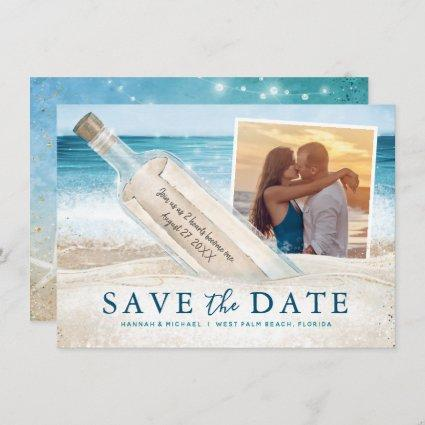 Message in a Bottle Photo Tropical Beach Wedding Save The Date