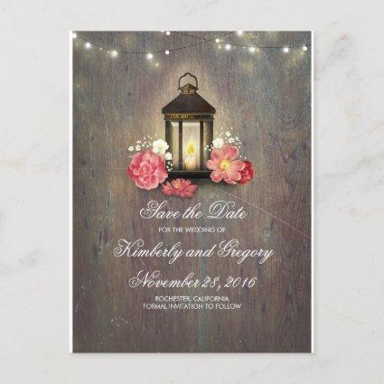 Metal Lantern Rustic String Lights Save the Date Announcement