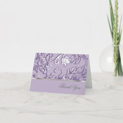 Metallic Embossed Look Damask in Lavender Thank You Card
