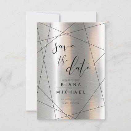 Metallic Geometric Wedding Silver/Black ID648 Save The Date