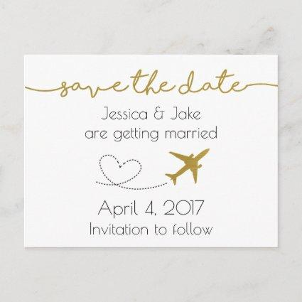 Metallic Gold, Travel Save the Date
