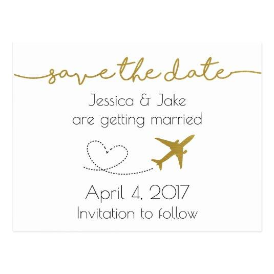 Metallic Gold, Travel Save the Date Cards
