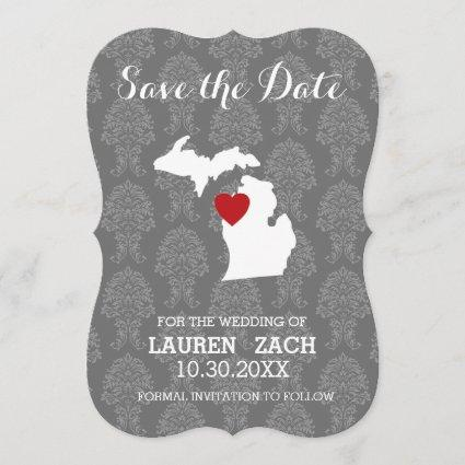 Michigan Home State City Map Wedding Save the Date