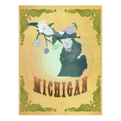 Michigan Map With Lovely Birds Cards