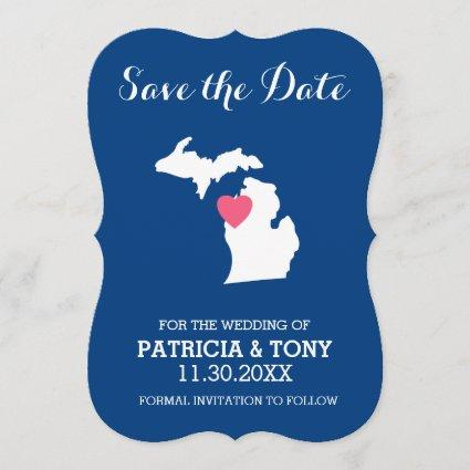Michigan State Map with Custom Love Heart and Name Save The Date