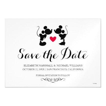 Mickey & Minnie Wedding | Silhouette Save the Date Magnetic Invitation
