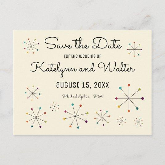 Midcentury Modern Retro Vintage Save the Date Announcement