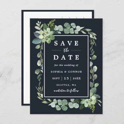 Midnight Navy Blue Succulent Wedding Save the Date Announcement