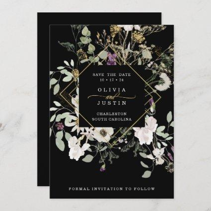 Midnight Wildflowers | Black Geometric Solid Back Save The Date