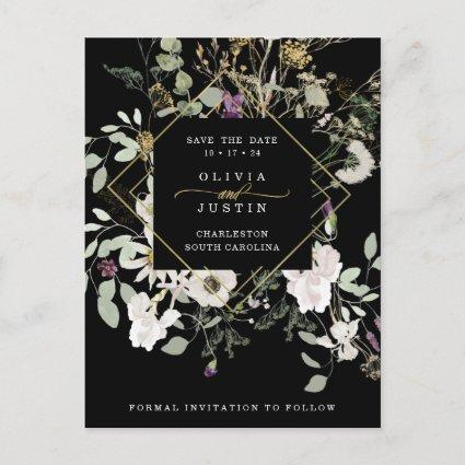 Midnight Wildflowers | Geometric Save the Date Announcement
