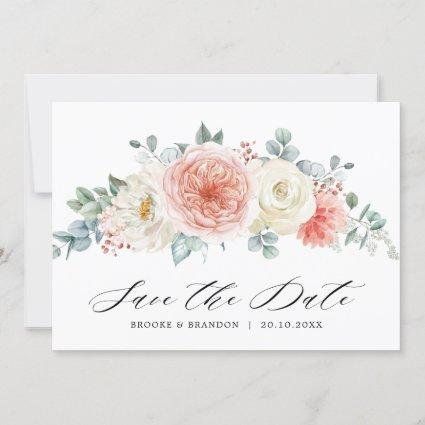 Midsummer Peach Pastel Pink Floral Wedding Save The Date