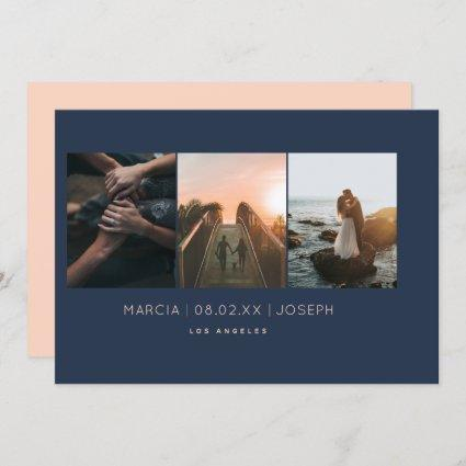 Minimal 3 photo Save the Date Peach and Navy