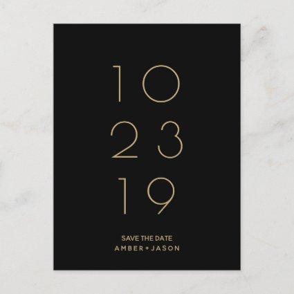 Minimal black and gold modern Save the Date Announcement