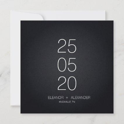 Minimal black and white simple no photo save the date