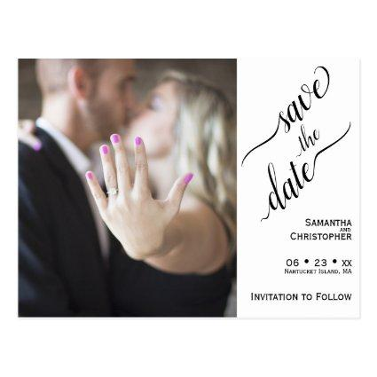 Minimal Black on White Wedding Save the Date Photo