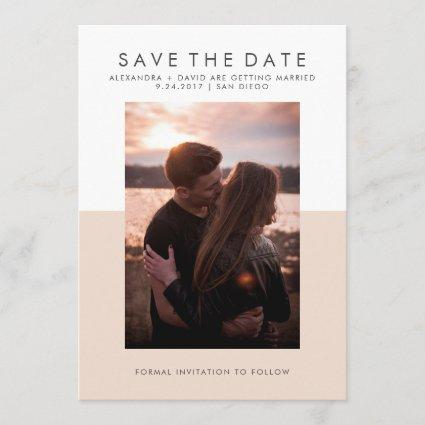 Minimal Blush Pink and White Photo Save the Date