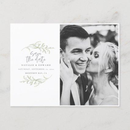 Minimal foliage + script text save the date announcement