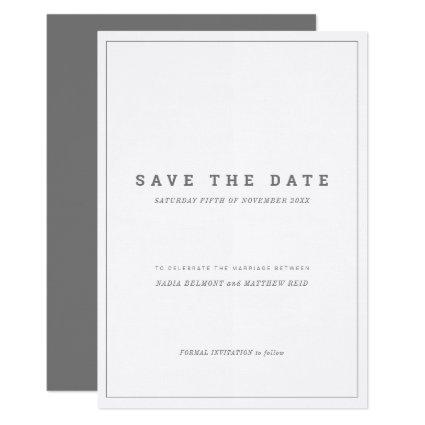 Minimal gray white vertical wedding save the date invitation