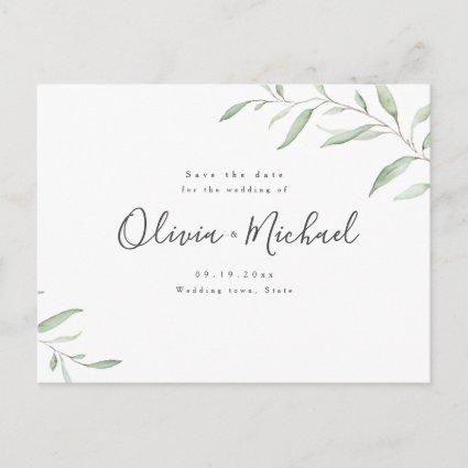 Minimal greenery calligraphy rustic save the date announcement