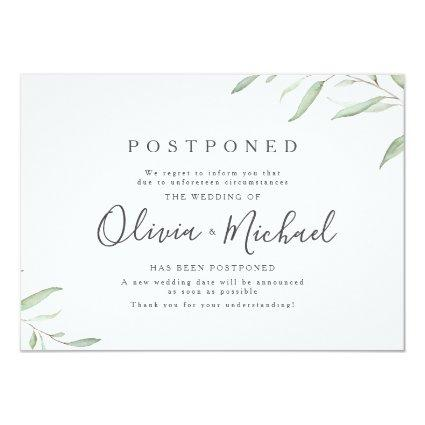 Minimal greenery calligraphy wedding postponement invitation