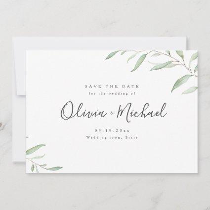 Minimal greenery simple calligraphy save the date