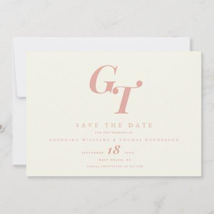 Minimal Initials | Modern Chic Peach Coral Wedding Save The Date