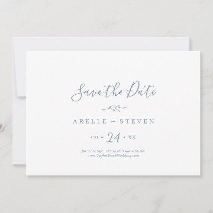 Minimal Leaf | Dusty Blue Horizontal Save The Date