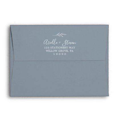 Minimal Leaf | Dusty Blue Wedding Invitation Envelope