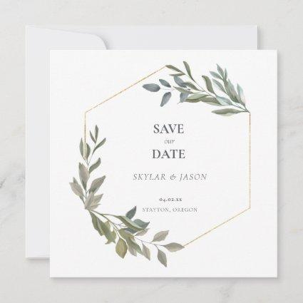 Minimal Leaf Greenery & Gold Geometric Terrarium Save The Date