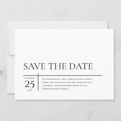 MINIMAL MODERN BLACK AND WHITE TYPOGRAPHY WEDDING SAVE THE DATE