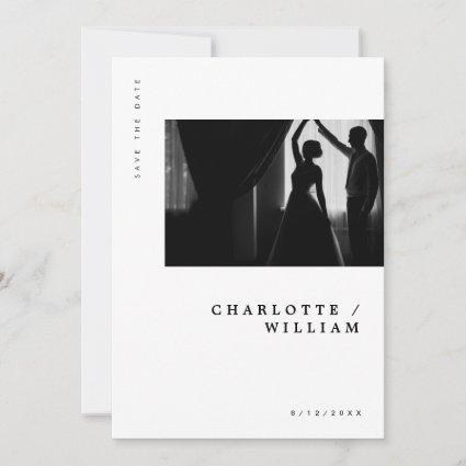 Minimal Modern Chic Typography Photo Wedding Save The Date