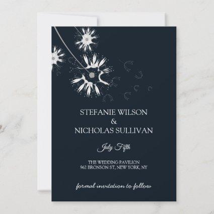 Minimal Modern Delicate Floral Monogram Wedding Save The Date