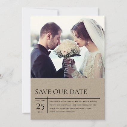 MINIMAL MODERN KRAFT TYPOGRAPHY WEDDING PHOTO SAVE THE DATE