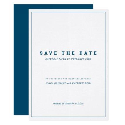 Minimal navy white vertical wedding save the date invitation