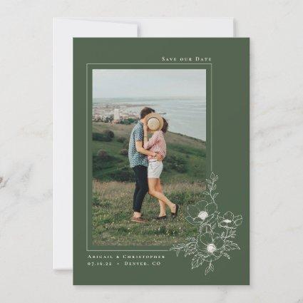 Minimal Olive Green Anemone Art Floral Wedding Save The Date