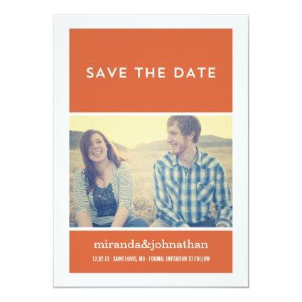 Minimal Orange Photo Save The Date Announcements