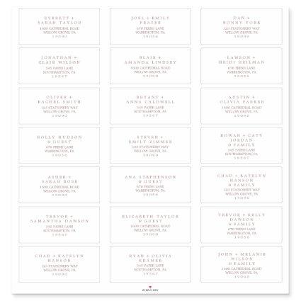 Minimal Rose Gold Typography Guest Address Labels