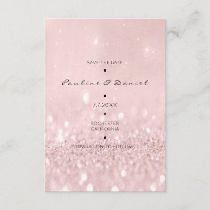 Minimal Save The Date Pink Rose Gold Glitter