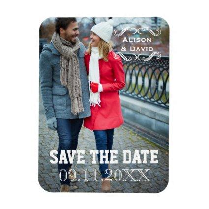 Minimal Save the Date simple wedding Magnets